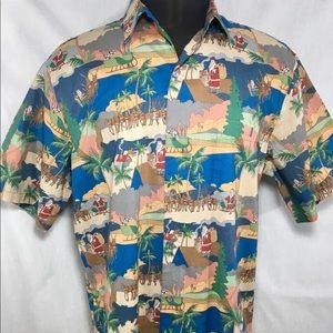 Travelsmith santa Button Shirt Short Sleeve  XLL